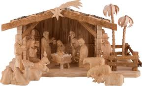 carved nativity set of 19 pieces with stable by dregeno seiffen