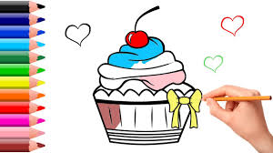 cupcake coloring pages and drawing learning how to paint with