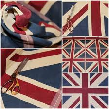 British Upholstery Fabric Designer Union Jack Vintage Shabby British Cushion Curtain