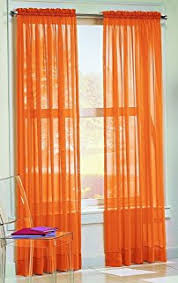 Burnt Orange Sheer Curtains Orange Sheer Curtain 2 Panels Rod Pocket 57 X 84