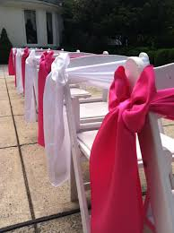 Pink Chair Sashes Pink And White Satin Chair Sashes In A Side Box Alternating On