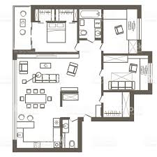 linear architectural sketch plan of three bedroom apartment stock
