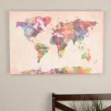 michael tompsett u0027urban watercolor world map u0027 canvas art
