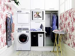 Cheap Laundry Room Cabinets by Pretty Red Pattern On Large White Wall And Wide Glass Window And