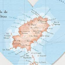 Punta Cana On Map Of World by Ibiza Map Heart Wedding Anniversary Print By Bombus Off The Peg