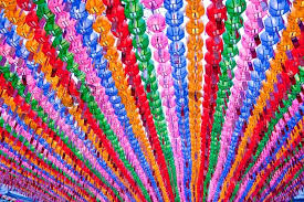 colorful lanterns in buddhist temple during lotus festival for