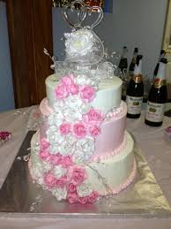Wedding Cake Gum 3 Tier Round Wedding Cake With Hand Made Pink And Purple Gum Paste