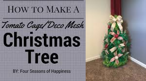how to make a deco mesh christmas tree with tomato cage youtube