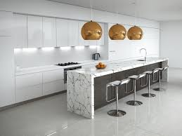 carrara kitchen white marble island dark timber copper accents