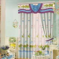 Light Cotton Fabric Light Blue Kids Curtains Cute Patterns Cotton Fabric No Valance