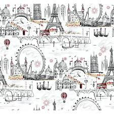Paris Themed Bathroom Accessories by Novelty Euro Scenic Wallpaper White Black Red Scenic Wallpaper