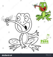 cute cartoon frog eats fly color stock vector 694309288 shutterstock