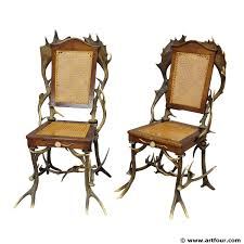 Rustic Cabin Furniture Two Antique Black Forest Antler Chairs For Sale At Artfour Com