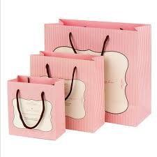 pink gift bags fashion white cardboard gift bags korean pink striped