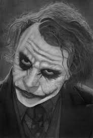 my pencil drawing of heath ledger as the joker from the dark