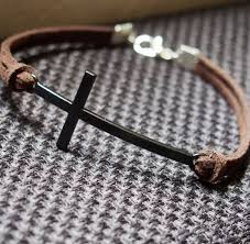 men bracelet cross images Cross bracelet in antique black brown leather single bracelet for jpg