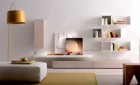 Wall Mounted Living Room Furniture Clean White Living Room Idea With Creative Wall Mounted Shelves