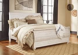 King Sleigh Bed Willowton Whitewash King Sleigh Bed