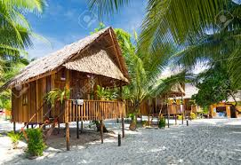 wooden bungalows in koh rong island beach in cambodia stock photo
