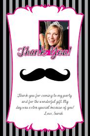 mustache printable birthday invitation file thank you card