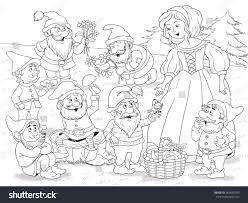 snow white coloring book snow white seven dwarfs fairy tale stock illustration 360485039