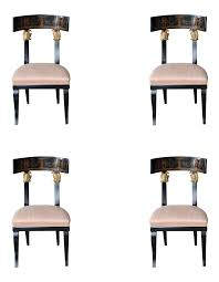 modern klismos chair distinguished set of four baltic neoclassic ebonized and penwork