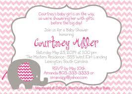 Invitation Card For Baby Pink Elephant Baby Shower Invitations Kawaiitheo Com