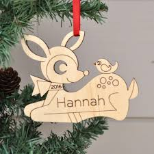 deer ornament handcrafted wooden personalized ornament