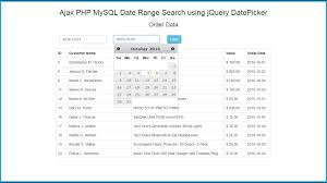 excel date format to mysql ajax php mysql date range search using jquery datepicker youtube