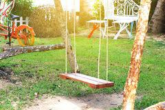 Rattan Swing Bench Rattan Swing Bench In Garden Stock Images Image 28657174