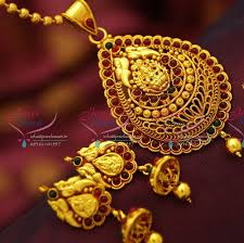 red gold jewelry necklace images Ps4140 red gold plated kemp stones south indian traditional temple JPG