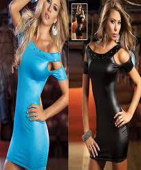 2017 womens black blue catsuit wet look pvc leather club wear