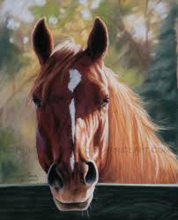 autumn light horse print of original pastel by cindypriceart