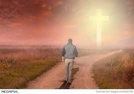 walk to the cross stock photo 52423769 megapixl