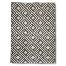 gray square geometric rug