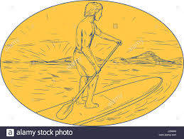 drawing sketch style illustration of a dude on a stand up paddle