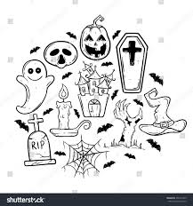 doodle art halloween icons castle coffin stock vector 459121429