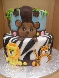 safari baby shower cake with fondant elephant lion tiger and