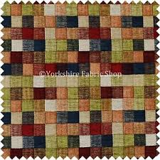 Colourful Upholstery Fabric Heavyweight Green Multi Coloured Patchwork Pattern Chenille
