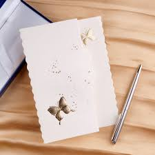 cheap wedding invitation kits ivory butterfly deco tri fold affordable wedding