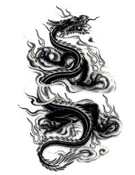 attractive black ink chinese dragon tattoo design