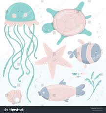cute kids illustration sea creatures cartoon stock vector