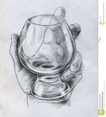 hand holding glass sketch stock illustration image 44241077