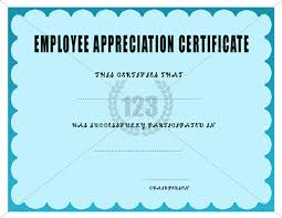 employee appreciation certificate template certificate templates