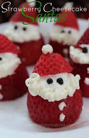 Christmas Cheesecake Decoration - strawberry cheesecake santas recipe appetizer dessert