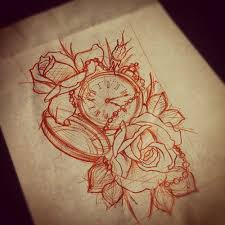 impressive clock tattoo with rose