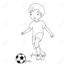 coloring book boy playing soccer royalty free cliparts vectors