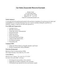 Resume Profile Summary Sample sample car sales resume resume for your job application