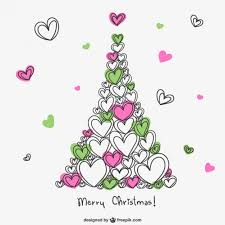 merry christmas card with hearts vector free download