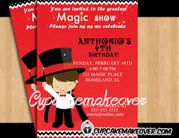 magic birthday party invitation personalized cupcakemakeover